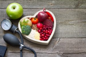 Healthy food on a heart-shaped container