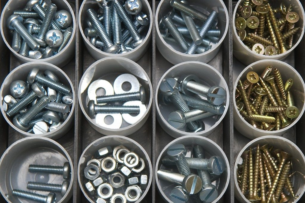 Fasteners organized in containers