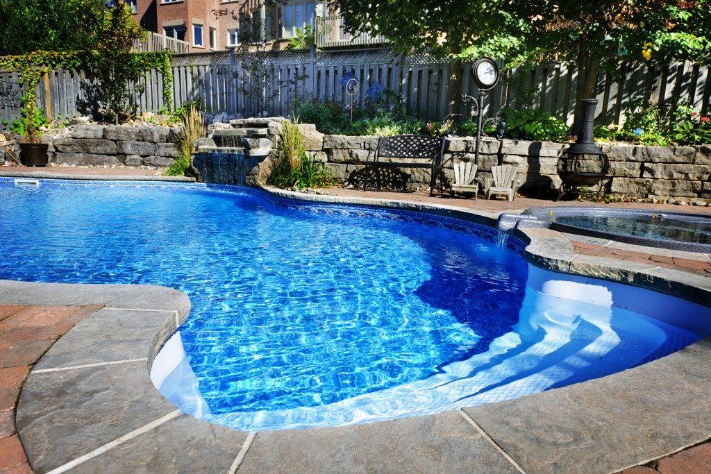 Residential inground swimming pool