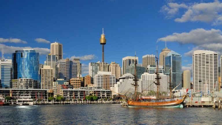 Darling Harbour with blue sky