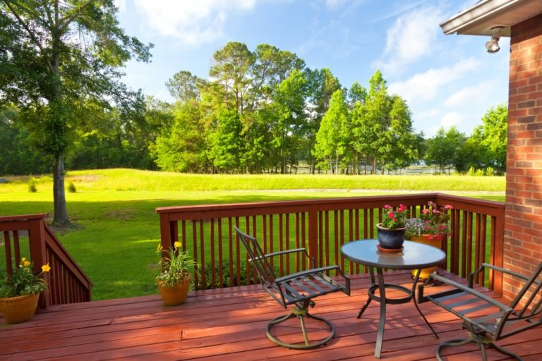 Residential backyard with deck