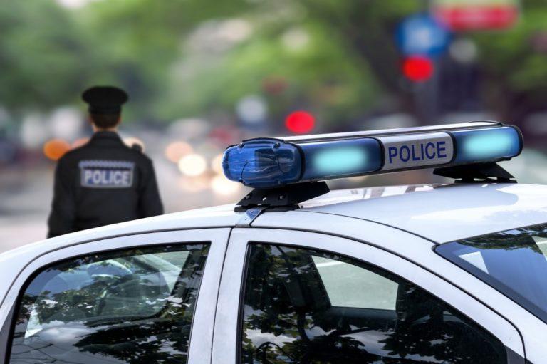 close shot of police car's headlight