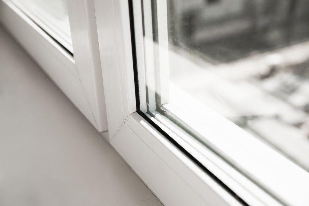 close shot of a window white frame