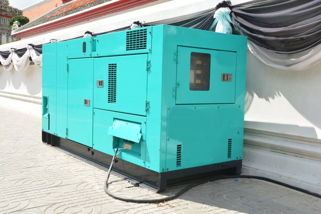 Mobile diesel generator for emergency electric power use for outdoor