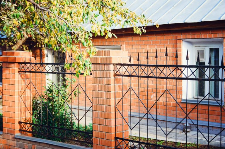 fence with brick columns