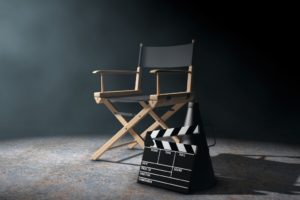 director's chair in the studio