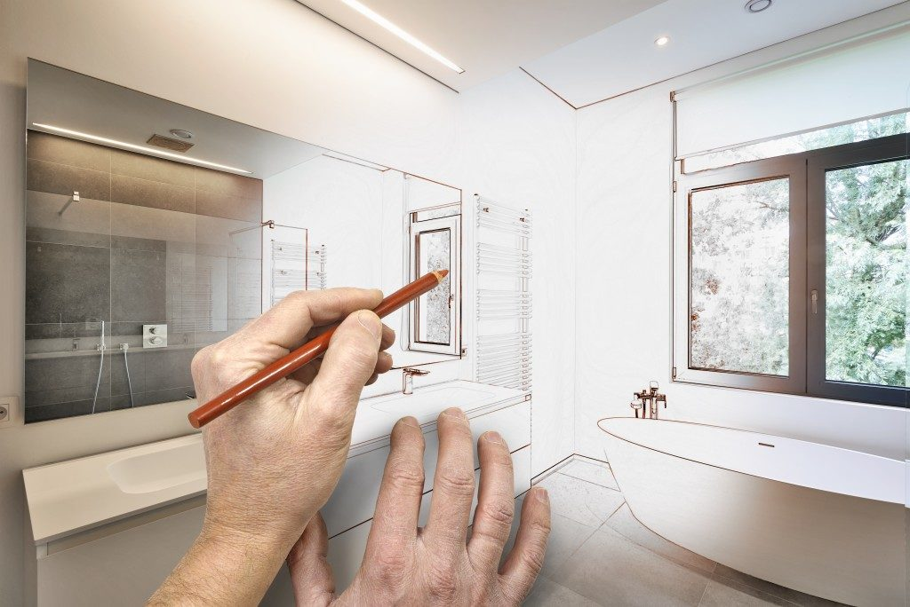 man designing the bathroom