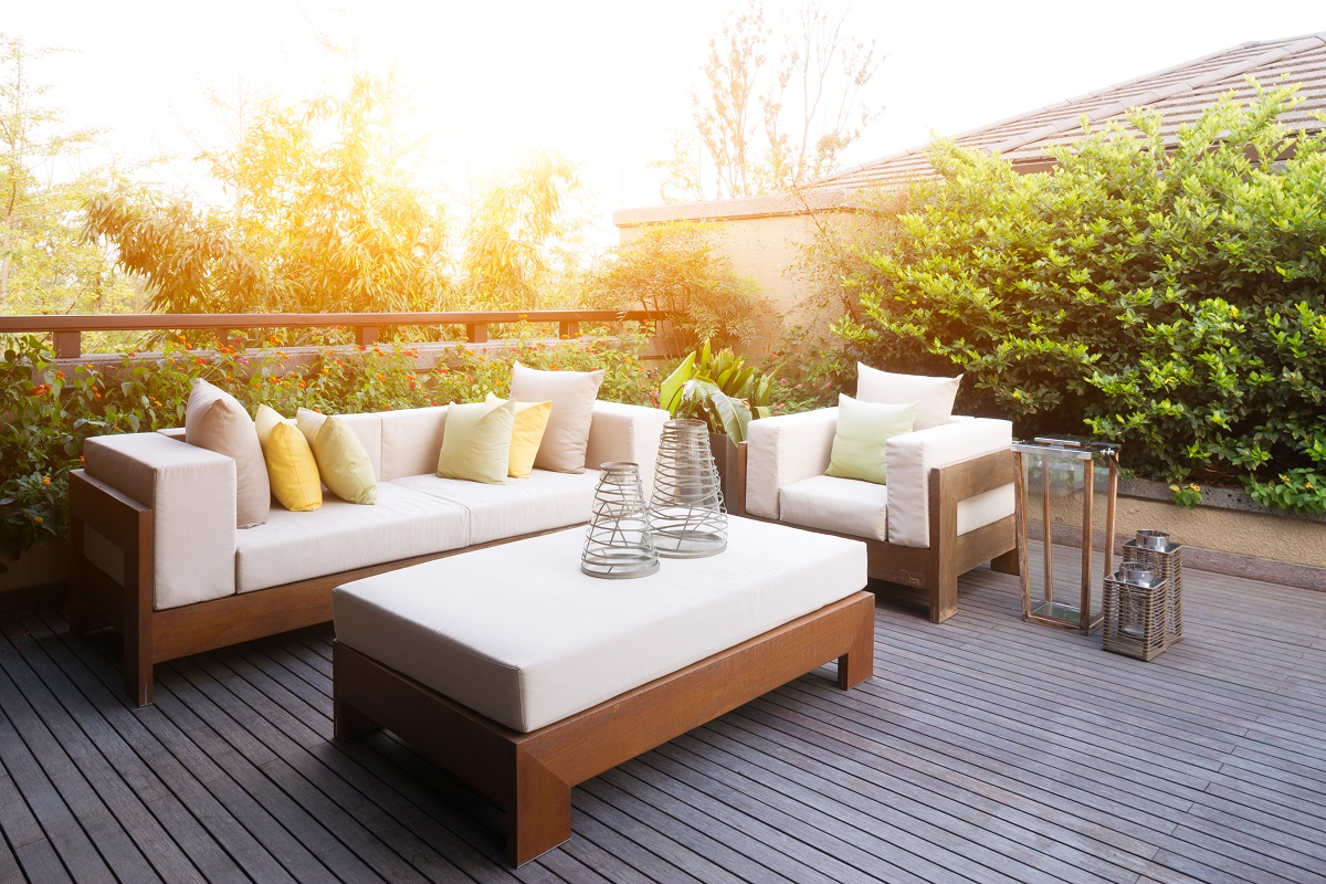 Backyard deck with couches