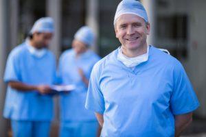 Surgeons in proper surgery attire