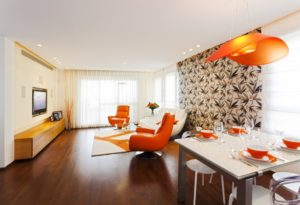 Living room interior with orange touch
