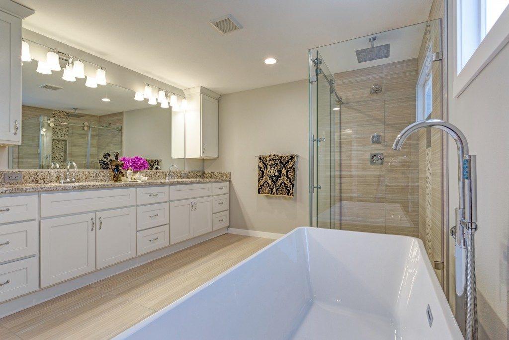 large bathroom with a tub
