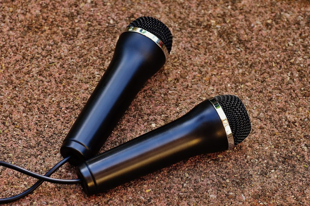 two black microphones