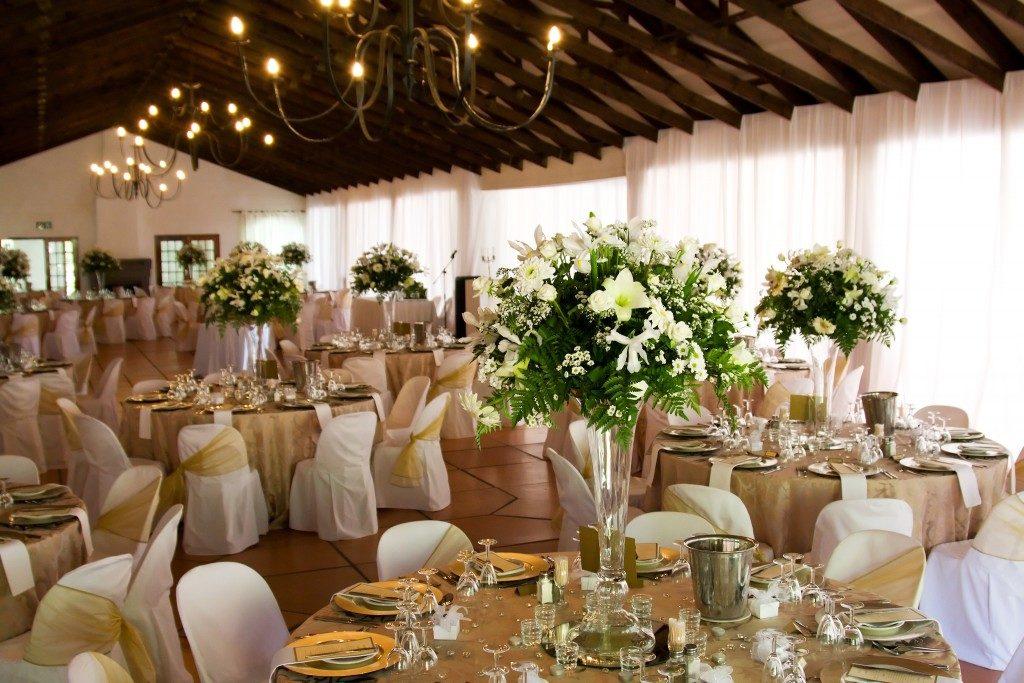 Indoors wedding reception venue with décor