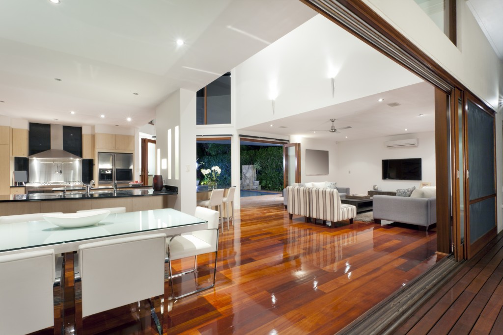 modern interior of home with high ceiling