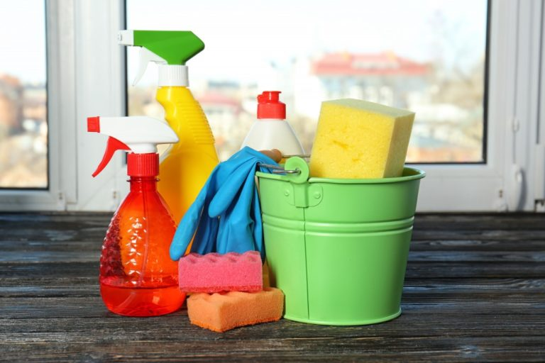 Bucket of cleaning materials