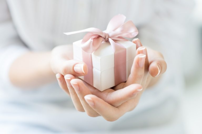 holding a present