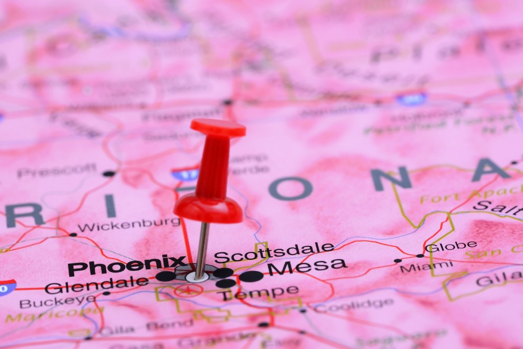 arizona map with pin
