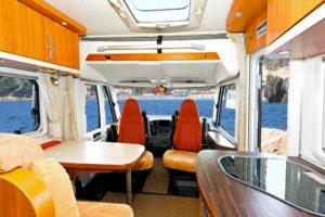 interior of camping van