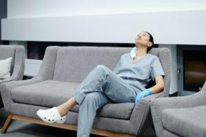 nurse taking a break