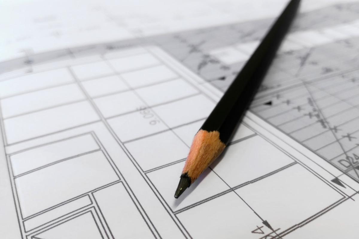 pen and blueprints